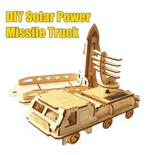 3D Puzzle DIY Space Shuttle and Truck Solar Kit Solar Power Wooden Missle Truck Toy Solar Car Puzzle 2017 New Toys for Kid