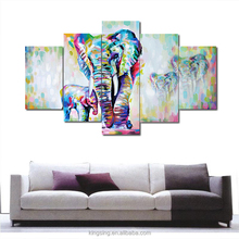 5 panels group modern abstract canvas art printed animal oil painting for home decoration