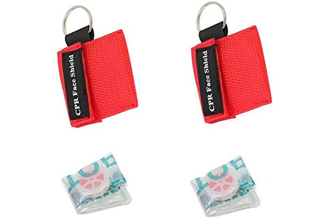 DW-FS001 Promotion disposable free CPR mask with face shield keychain