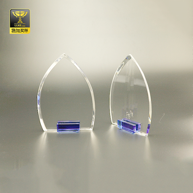 crystal trophy awards stand clear glass plaque
