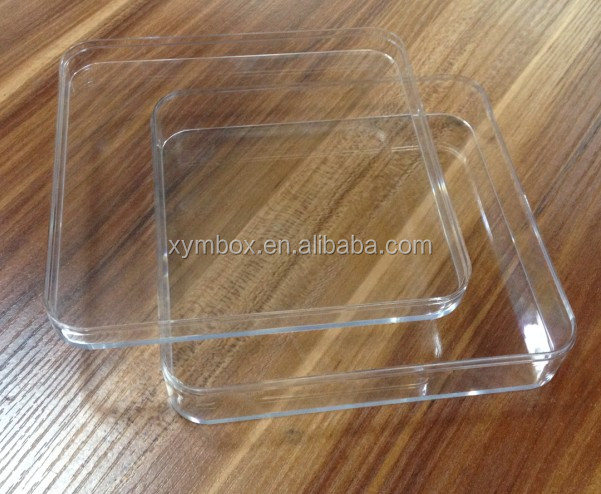 150*150*35mm clear injection molded plastic container in hot sale
