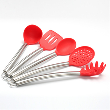 Silicone Spatula Utensil Kitchen 5 Pieces With Spaghetti Pasta Server, Slotted Turner, Serving Spoon, Deep Ladle