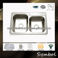 "New 33"" Topmount Unequal Double Bowl Kitchen Sink Stainless Steel Prices"