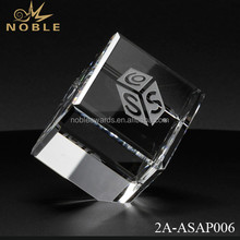 Noble Custom 3D Laser Engrave Blank Crystal Cube Paperweight For Office Desktop Decoration