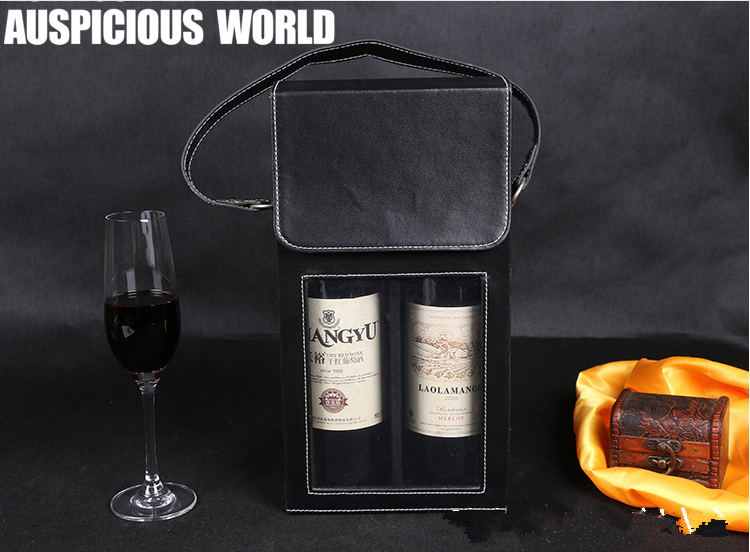 Customize top grade wine tote neoprene wine cooler bag leather bottle cover