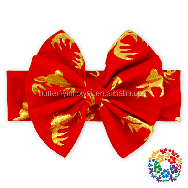 christmas red gold deer big bow baby headband 2016
