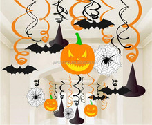 Halloween Theme Pumpkin and Bats Hanging Foil Swirls Banner Decoration Halloween Party Supply