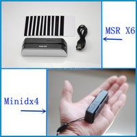 original MSR X6 smallest magnetic stripe card reader/writer + MINIDX4 (mini400) magnetic stripe card reader data collector
