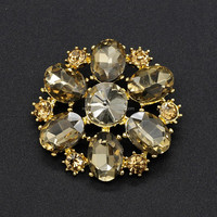 bulk new style magnetic crystal rhinestone brooch with pin for wedding bouquet