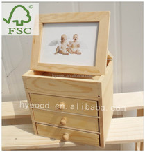 factory supply many small drawers small wooden min storage cabinet with photoframe underdesk desktop on table top for sale
