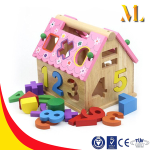 kids wooden assemble toys educational house block digital intelligent house