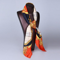 High quality 90*90 formal uniform raw satin turkey silk scarf