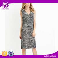 2016 Guangzhou Shandao New Summer Casual Design Sleeveless V Neck Midi Printed Chiffon Best Dress For Farewell Party