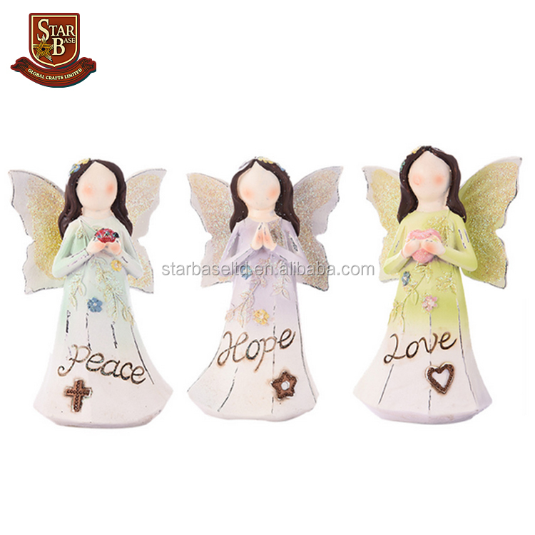 Hope Love Peace Artistic Resin crafts Hope Love Peace Beautiful Wish Angel Gift Ornaments Home Decoration Ornaments