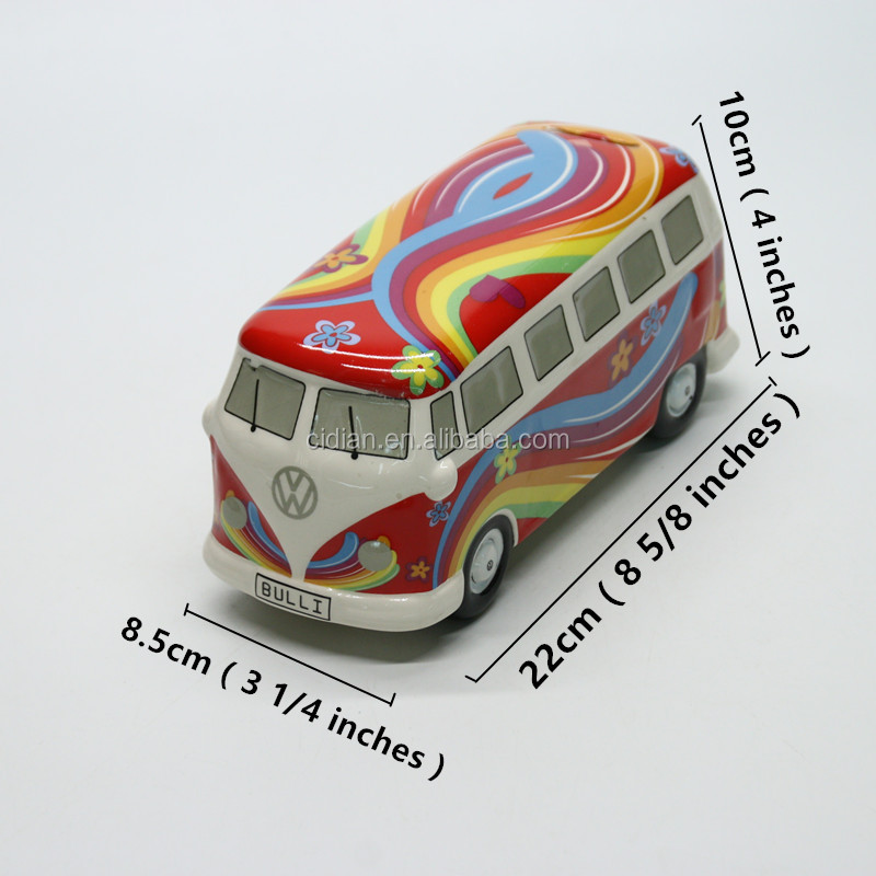 OEM money box Cheap Ceramic Car Shape Piggy Bank For saving coins