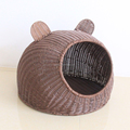 Pikachu shape fancy handmade rattan cat cages plastic dog beds pet accessories bed