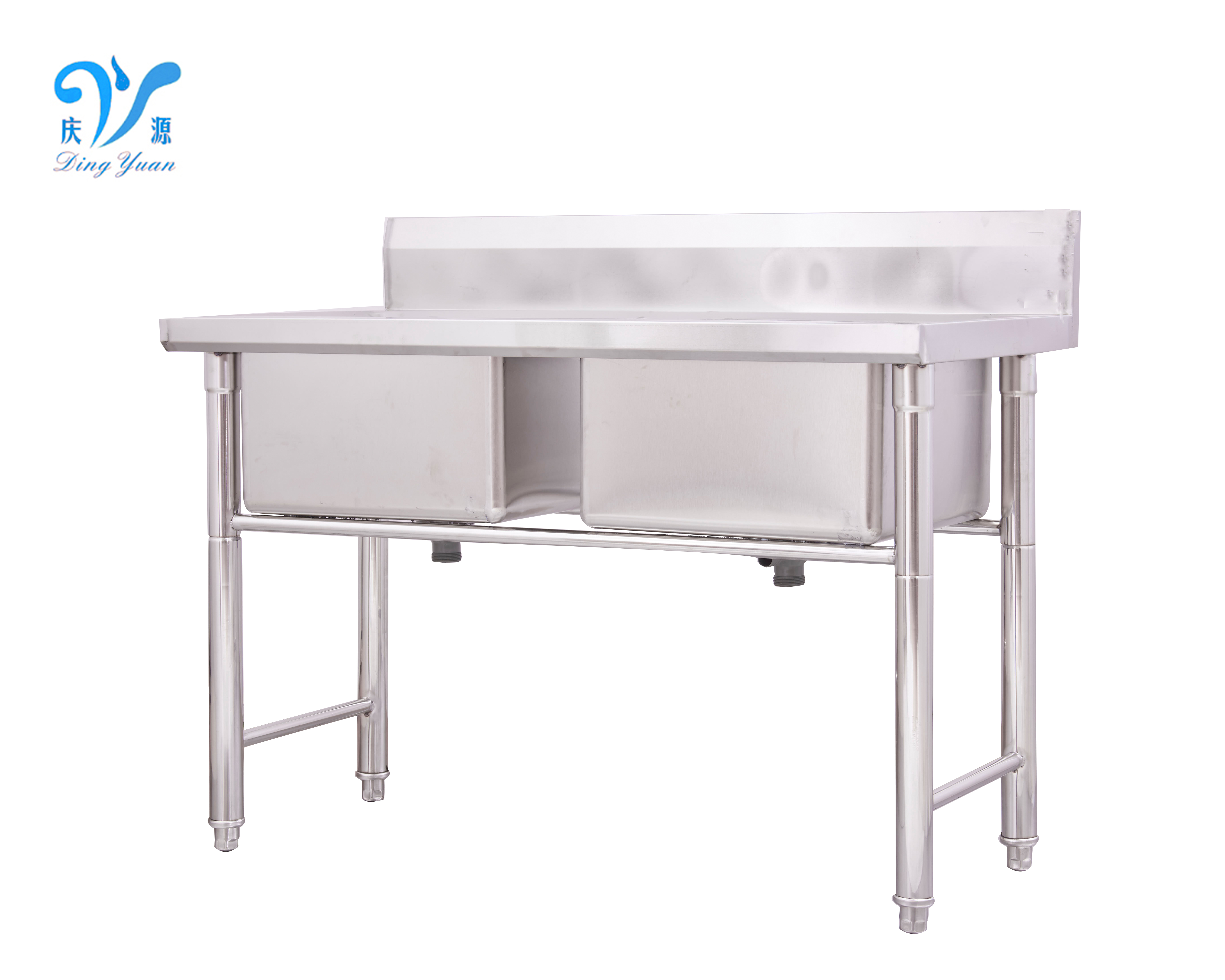 Commercial Stainless Steel 2 Compartment/Double Bowl kitchen Sink for Restaurant