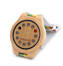 Hanoson newest Bamboo wristwatch with Rainbow leather band PK Japanese miyota 2035 movement wristwatch