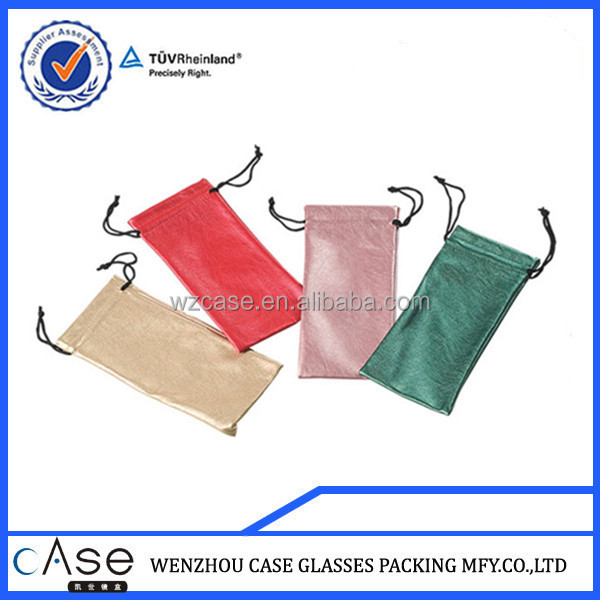 wenzhou case soft pu glasses bags with string