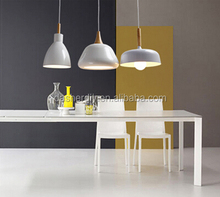 Dasher producing fashion simple pendant light/ white color aluminum lampshade with wood light