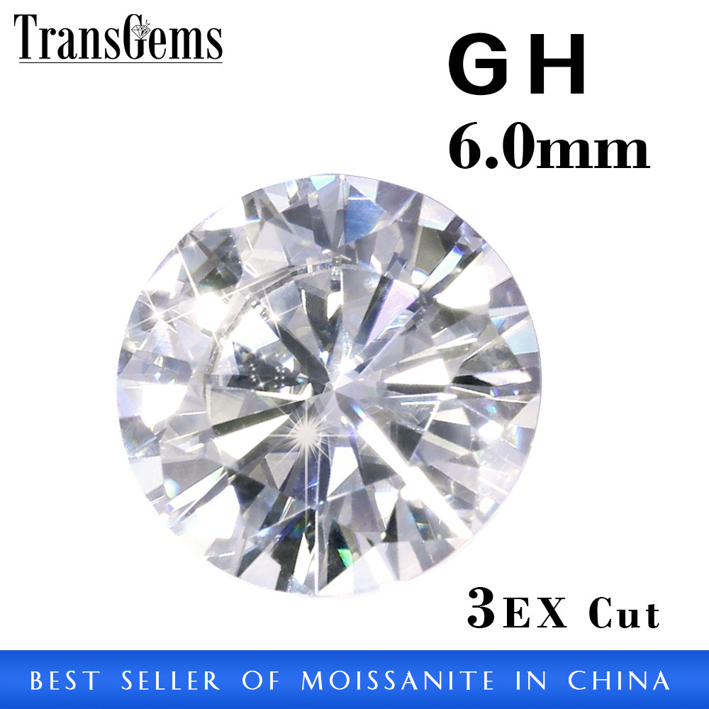 6mm Pure White Synthetic Moissanite Loose Gemstone Moissanite Diamond Wholesale