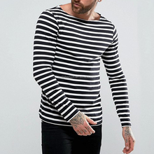 high quality plain t-shirt men fashion skinny fit basic boat neck t-shirts in black and white stripes
