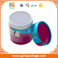 Red round cylinder gift packaging box with lid