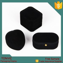 Black velvet ring jewelry box as gift box manufacturer in china