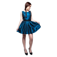 Look-through back top quality strapless knee length satin formal ball short evening dresses