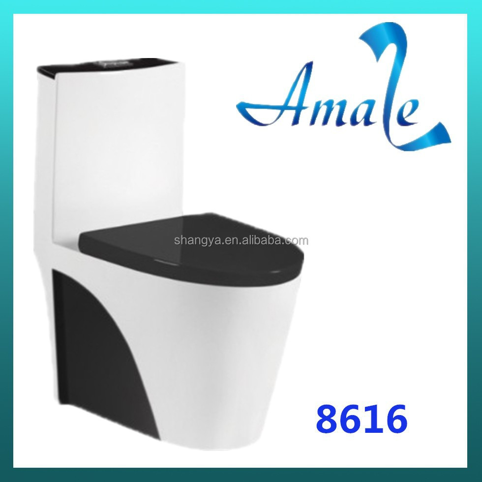 Colorful comfortable Ceramic black color floor mounted Super Siphonic One Piece Toilet