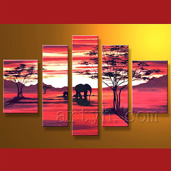 Modern handmade abstract famous African scenery oil painting