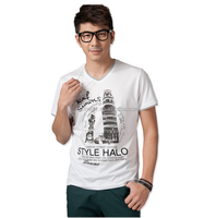 Customized Mens White Cotton Screen Printing Tshirt for Wholesale