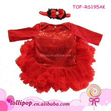 2016 Valentines Day long sleeve baby girls tutu sequin romper sparkled baby sequin romper with macthing headband