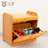 Bamboo Outdoor Shoe Cabinet With Seat /Shoe Rack with Cabinet