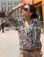 ladies printed blouses ,woman chiffon clothes