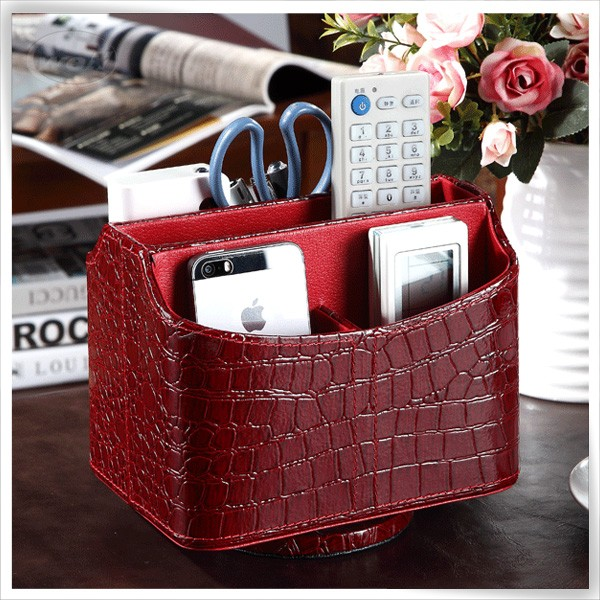 Luxury handmade pu leather decorative tv remote control holder