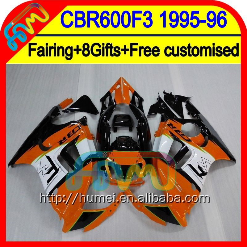 8Gift+ For HONDA CBR600F3 CBR 600 F3 95 96 Orange white 19HM48 CBR 600F3 95-96 CBR600RR CBR600 F3 1995 1996 Fairing Orange blk