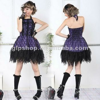 PUNK CHECKER GOTHIC LOLITA ALICE LACE DRESS 61217