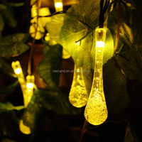 30led micro solar string crystal magic garden water drop shape string light outdoor