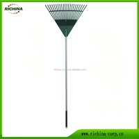 Plastic Leaf Rake, 22 teeth, any color available, long handle