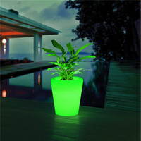Waterproof IP54 PE plastic recharging glowing outdoor solar illuminated led planters
