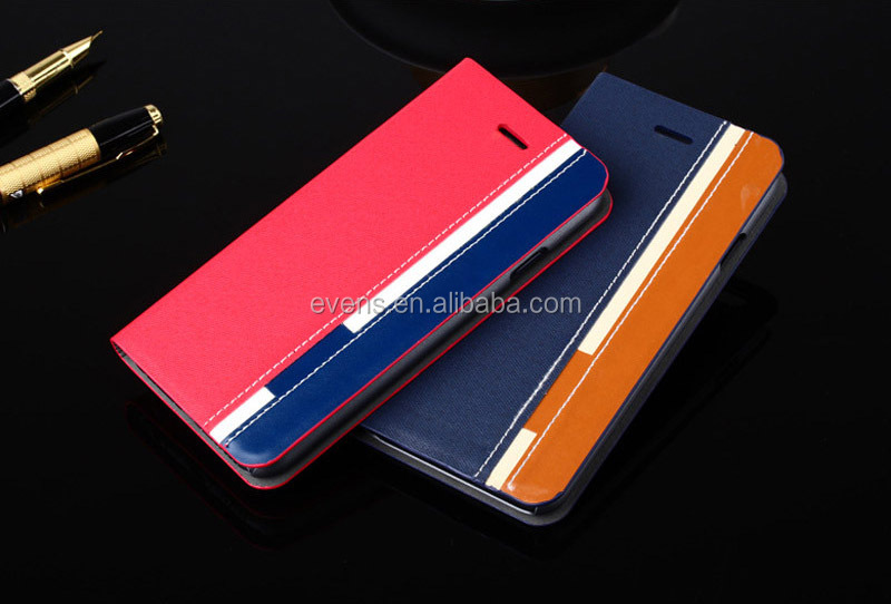 Contrast color Fashion PU Leather Wallet Flip Mobile Phone Case Cover For Lenovo S920