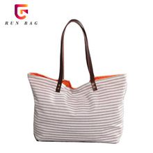 Summer Beach Striped Standard Size Cotton Canvas Tote Bag With Leather Strap