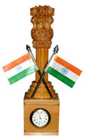 Carved Indian Wooden Emblem + Clock + Flag Corporate Gift Item