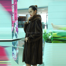 Y15A001 Brown long style mink fur coat with fox fur collar