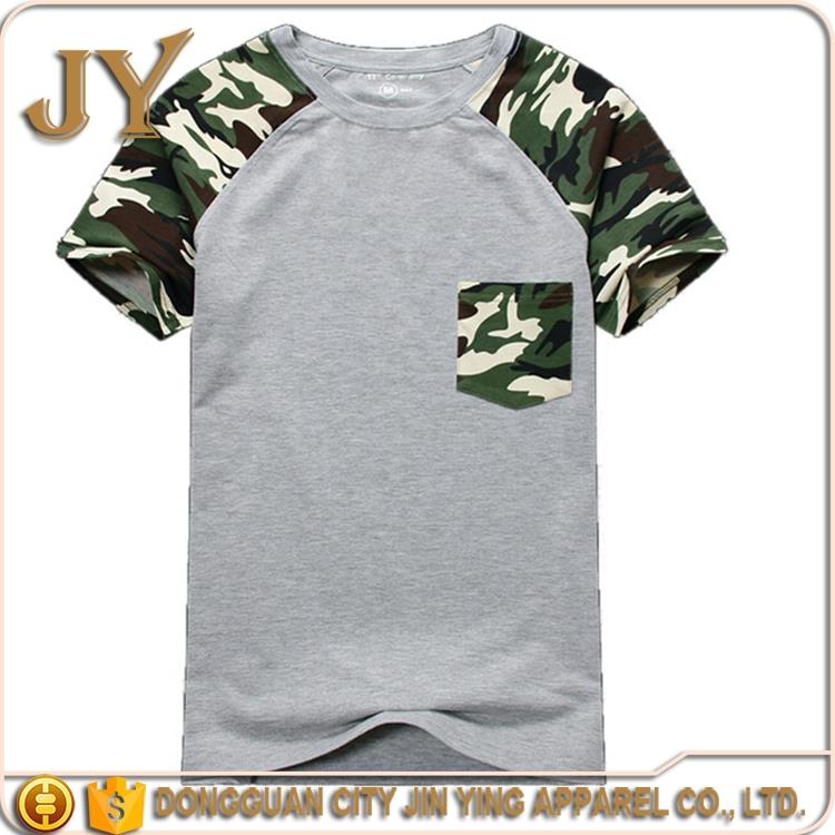 Men T-shirt Camouflage Camo With Pocket Cotton Army Tactical Combat Military Sport New 2016 Top & Tees