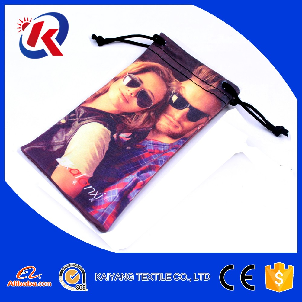 hot transfer printing microfiber drawstring carry bag for sunglasses