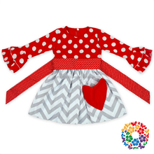 Valentine red white polka dot ruffle long sleeve top white grey zig zag cotton girl baby dress with heart shape pocket
