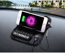 Nonslip Silicone Rubber Pad car mobile phone holder mount stand non slip anti slip pad with 3 in 1 USB charging cable