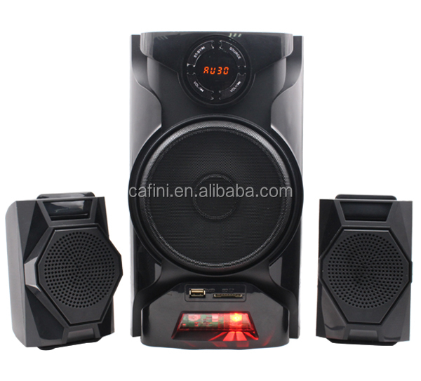 hot selling perfect sound quality 2.1 multimedia speaker system box with USB/SD/FM/EQ/wireless MIC/remote control